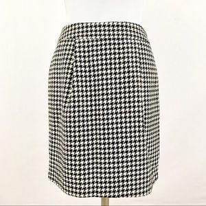 Black & White Herringbone Wool Blend Mod Skirt